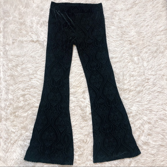 Forever 21 Pants - Forever 21 black velvet flare pants medium